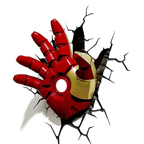 San Qing Applique 3D, Avengers Iron Man 3D série de veilleuses décoratives série Lampe Murale Salon Chambre d'enfants