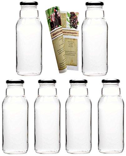 gouveo 12er Set Smoothie-Flaschen 300 ml inkl. Schraubverschluss Silber, Milchflaschen, Saftflaschen, Essigflaschen, Ölflaschen