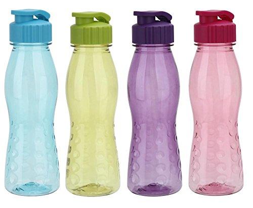culinario 4er Set Trinkflasche Flip Top, BPA-frei, 700 ml Inhalt, blau, grün, lila und pink