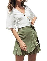 c1b3db765f Gusspower Falda Mujer Elástica Plisada Básica Patinador Multifuncional  Corto Falda con Volantes Tallas Grandes Color sólido