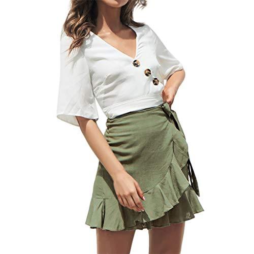 MOIKA Damen Minikleid Mode Einfarbig Rüschen Verband Sommerrock Röcke Schnüren Sich Kurzen Rock A-Line Gefaltet Strandrock (Passt Roaring Twenties)