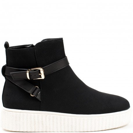 Ideal Shoes - Bottines style creepers Corina Noir