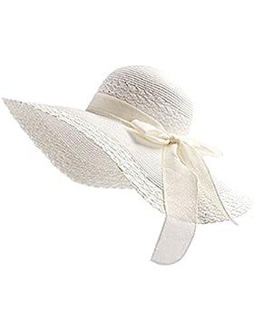 WDILO Sombrero de playa de verano de turismo salvaje, plegable, fácil de llevar, paja, Blanco, 56-58CM