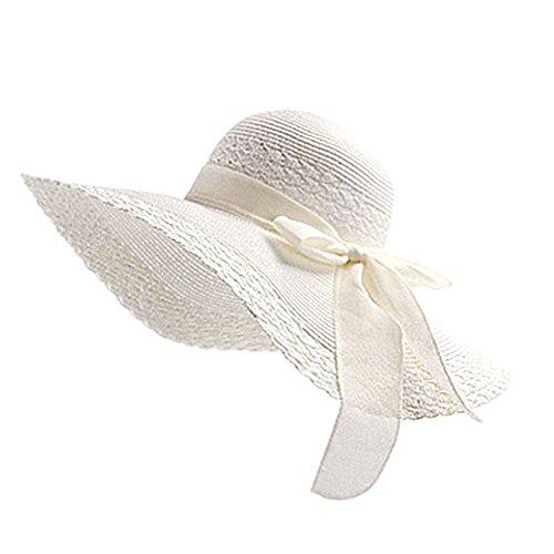 JUNGEN Floppy Chapeau Unisexe Wide Brim Chapeau De Soleil Fashion Voyage Chapeau de Plage idéal pour Vacances Nœud à Deux Boucles Dôme Blanc 1 PCS