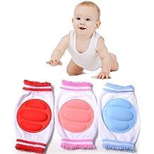 NuoYo Rodilleras del Bebé Para Proteger Seguridad Bebé Niño Gateando Coderas(Un Paquete de Tres)