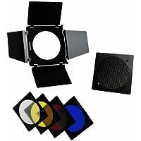 DynaSun Barn Door - Juego profesional de iluminación (4 filtros de colores para flash)