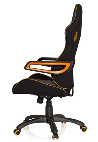 41e9zEZrRvL - hjh OFFICE 621850 RACER PRO IV - Silla gaming y oficina, tejido negro/gris/naranja