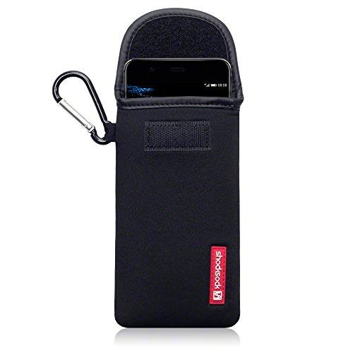 Shocksock Neoprene Custodia Sacchetto Manicotto con Carabiner per Huawei P10 Plus Custodia, Colore: Nero