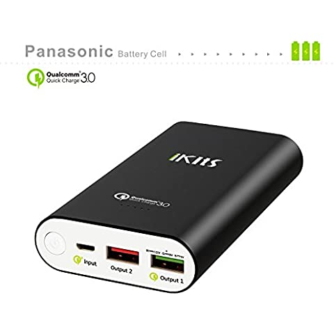 iKits [Qualcomm Certificado] Celular Panasonic batería de carga rápida 3.0 Banco de energía portátil cargador externo de la batería 10200mAh con la entrada: QC3.0, Salida: 2.4A + control de calidad para el iPhone Samsung / iPad y más Negro