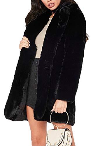 Aceshin Damen Felljacke Schwarz Mantel Plüschjacke Winter Jacke Warm Faux Pelzmantel Outwear lang Coat