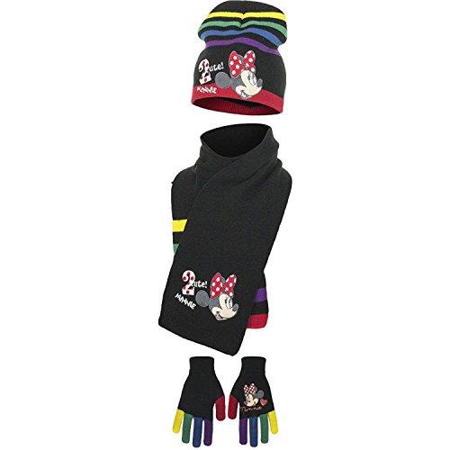 Disney Minnie - Set 3pz Cappello Sciarpa e Guanti Misura 52 Nero