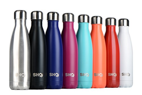 YOUR Bottle! by SHO - Ultimate Vacuum Insulated, Double Walled Stainless Steel Water Bottle & Drinks Bottle - 24 Hours Cold & 12 Hot - 500ml - Perfect Sports Water Bottle, Vacuum Flask Bottle & Everyday Water Bottles - BPA Free - Lifetime Guarantee (Aqua)