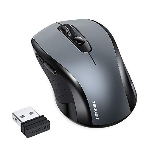 TECKNET Mouse Senza Fili, Mouse Portatile USB da 2,4 GHz con Ricevitore Nano, 6 Pulsanti con Interruttori DPI a 3 Livelli Mouse Intelligente per Il Risparmio Energetico per l'Home Office (Grigio)