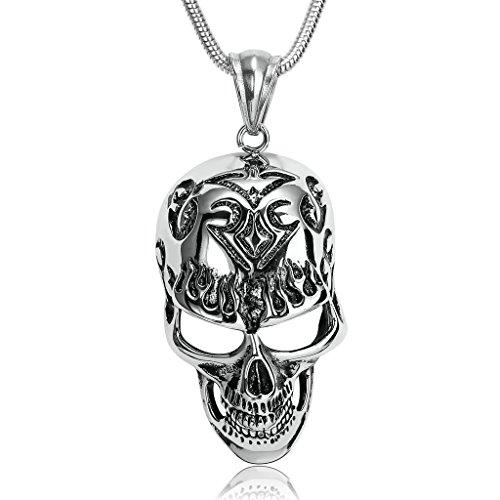 Epinki Herren Edelstahl Halskette, Silber Schwarz Schädel Tätowierungs Flammen Maske Anhänger Herrenkette Edelstahlanhänger Kette 3.8x6.6 cm -