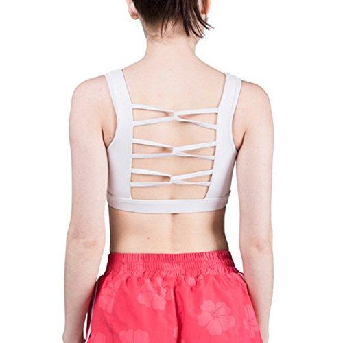 Nibesser Femme Soutien-Gorge Forte Intensite Sans Armatures Emboîtant Brassiere Sportive Dos Nu pour Yoga Pliate Course Blanc