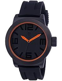 Konigswerk AQ202896G - Reloj de pulsera (manecillas naranjas, anillo interior, correa de silicona negra, dial y caja de cuarzo)