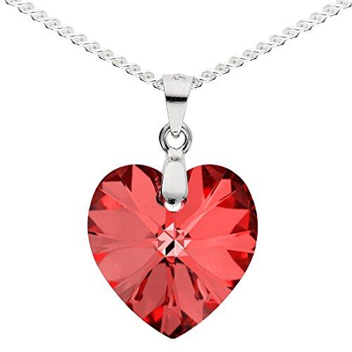 MYA art Damen Kette Halskette 925 Silber mit rotem Herz Anhänger aus Swarovski Elements Rot und Etui MYASIKET-52 - Valentinstag Geschenke