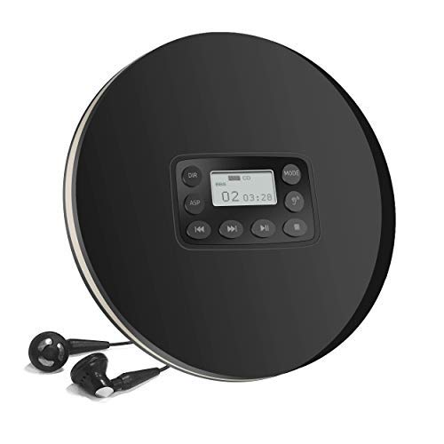 Wiederaufladbarer Tragbarer CD Player mit Audio Kabel, HOTT Persönlicher Disc Player Kompakter Anti-Shock Kleiner Musik Walkman CD Players mit LCD Display für Kinder und Erwachsene - Schwarz
