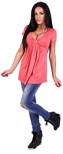 Zeta Ville - T-shirt V-Ausschnitt Schleife Büste Top Empire-Taille - Damen 969z Koralle