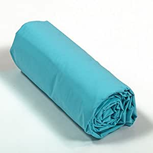 drap housse percale 160x200 bonnet 40 cm couleur turquoise cui. Black Bedroom Furniture Sets. Home Design Ideas