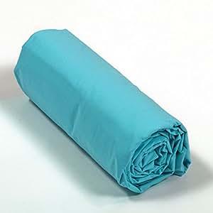 drap housse percale 160x200 bonnet 40 cm couleur turquoise cuisine maison. Black Bedroom Furniture Sets. Home Design Ideas
