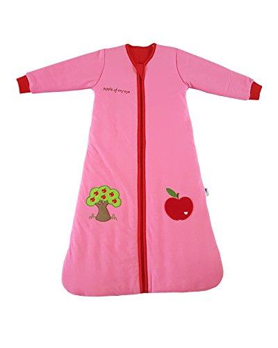 Schlummersack Babyschlafsack in rot für Mädchen, warm gefüttert mit Ärmeln für den Winter in 3.5 Tog - Roter Apfel - 0-6 Monate/70 cm