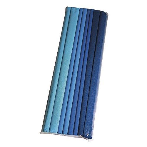 Rayher 73135000 Bastelkrepp Set- Blautöne, 250x50cm, 30g/m²,4 Farben, Beutel 8Rolle