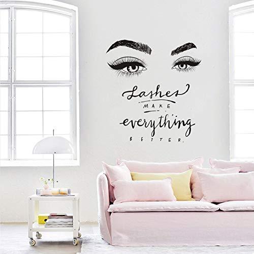Wimpern Auge Wandtattoo Beauty Salon Decor Wimpern Alles Besser Zitieren Wandbild Vinyl Wimpern Augenbrauen Aufkleber 42 * 45 cm