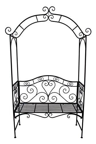 VARILANDO Metallbank mit Rosenbogen Gartenbank Sitzbank 2-Sitzer im antik-Look