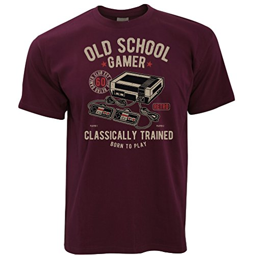 Tim And Ted Gaming T-Shirt Old School Gamer Retro Videospiele Arcade Maroon Large