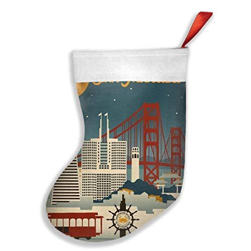 QUEEKINWANG San Francisco, California - Retro Skyline Xmas Christmas Stockings Xmas Party Mantel Decorations Ornaments Decoration Kids Gift Holding Stocking Tree Ornament