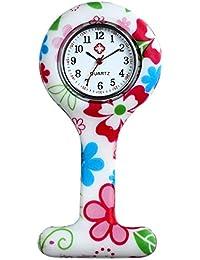 Lancardo Reloj de Bolsillo de Silicona Reloj Médico de Doctor Enfermera Paramédico Prendedor de Broche Uniforme con Dibujos Multicolores Dial Desmontable Movimiento de Cuarzo (Rojo)