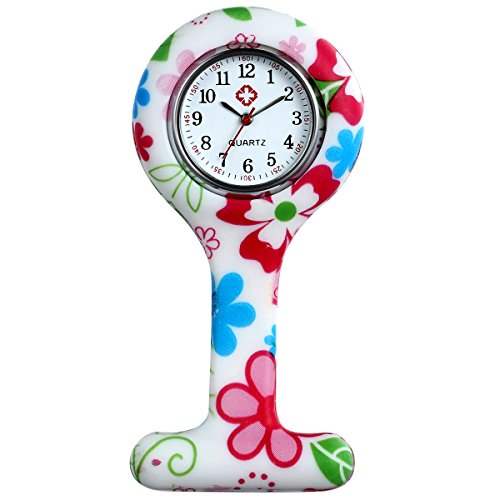 lancardo Uhren,Krankenschwester Armbanduhr FOB-Uhr Damen Taschenuhr Analog Quarzuhr aus Silikon (Rose Rot)