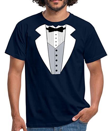 Spreadshirt Anzug Tuxedo Smoking Männer T-Shirt, XXL, Navy