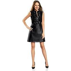 oodji Ultra Mujer Vestido Combinado con Falda de Piel Sintética, Negro, ES 40 / M