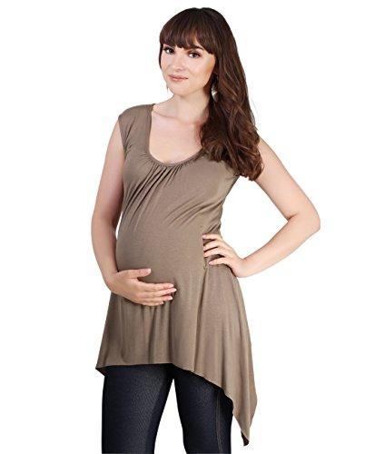 KRISP 6255-MOC-10: Schwangerschafts Top mit Schrägem Saum (Mokka, Gr.38) 10 Moc