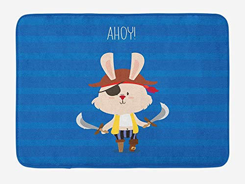 NasNew Ahoy Its a Boy Bath Mat, Pretty Pirate Rabbit Bunny with Eye Patch Funny Graphic Cartoon Illustration, Plush Bathroom Decor Mat with Non Slip Backing, 31.69 X 19.88 Inches, Multicolor (Patch Pirate Eye Pink)