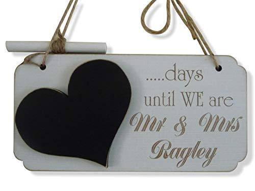 personalisierbar Hochzeit Countdown Schild, handgefertigt Kleine Schiefertafel, Tage, bis wir sind Herr und Frau, Verlobung Geschenk (Tafel-hochzeits-countdown)
