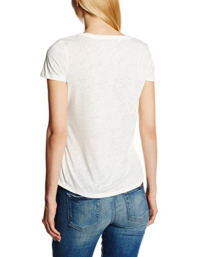 TOM TAILOR Damen T-Shirt Enjoy Print Shirt Elfenbein (whisper white 8210)