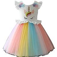 Girls Unicorn Costume Dress Princess Flowers Rainbow Dresses up Child Cosplay Wedding Party Tutu Sleeveless Fancy Up