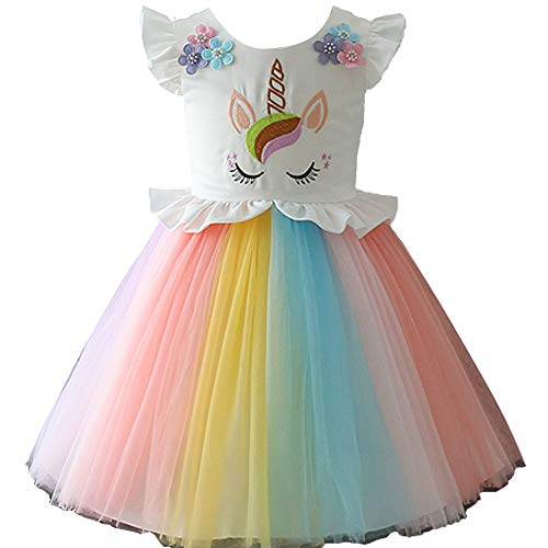 Mädchen Einhorn Kostüm Kleid Prinzessin Blumen Regenbogen Verkleidet Sich Cosplay Kind Hochzeit Tutu Sleeveless Fancy Up (4-5 - Regenbogen Prinzessin Kind Kostüm