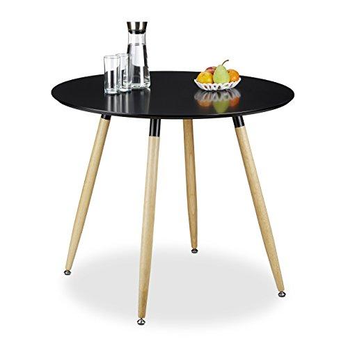 Relaxdays 10020557_46 tavolo da pranzo rotondo, legno, nero, 90x90x74 cm