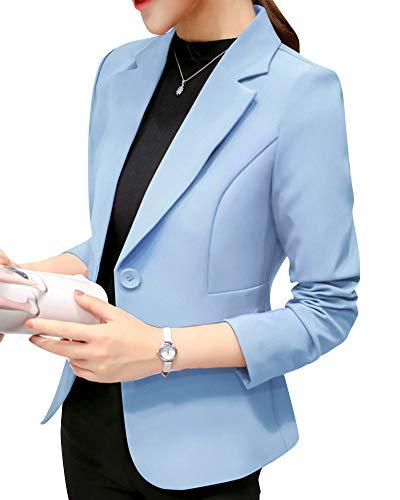 Chaqueta de Traje,Mujeres Color Sólido Corto Oficina Carrera Blazers Azul Claro L