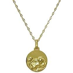 Medalla para bebé de oro amarillo de 18Kts de 14mm con cadena estriada italiana de oro amarillo de 18Kts.40cm