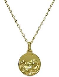 d4e92916d21e Medalla para bebé de oro amarillo de 18Kts de 14mm con cadena estriada  italiana de oro