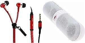 MIRZA Zipper Earphones & Bluetooth Speaker for INFOCUS M550-3D(Zipper Earphones  With MIC  Zipper Earphones & Facebook Bluetooth Speaker)