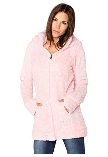 Sublevel Damen Teddy-Fleece Mantel | Kuscheliger Langer Fleecemantel mit hohem Kragen Rose L