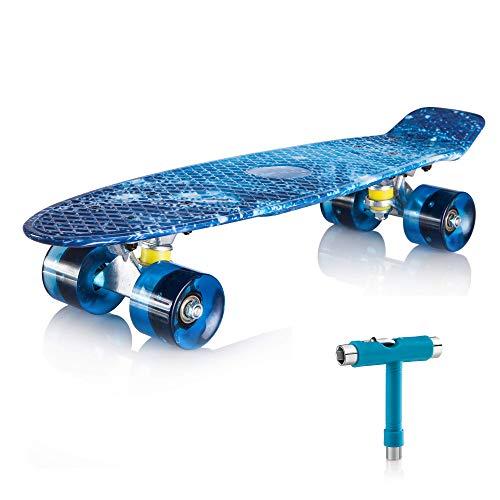 """Newdora 22"""" kompletter Skateboard Cruiser mit Buntem LED-Lichtrad für Kinder, Jungs, Mädchen, (Galaxy,22)"""