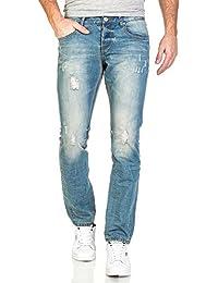 BLZ jeans - Jean homme bleu clair délavé usé