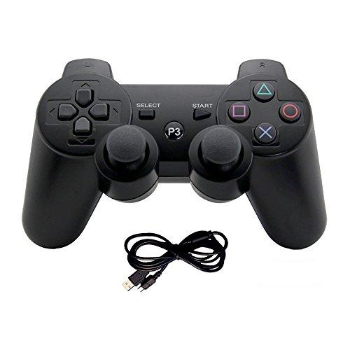 EVORETRO Kabelloser Gamepad Gamecontroller mit Dual-Vibration Joysticks für PS3 schwarz